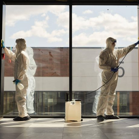 Graphic full length portrait of two workers wearing protective suits cleaning surfaces indoors lit by sunlight, copy space